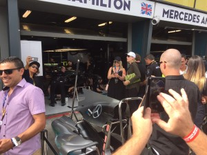 Grix Sunglasses visits Mercedes pits at Melbourne Grand Prix